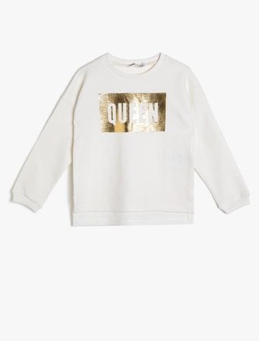 Koton Kids Yazılı Baskılı Sweatshirt Beyaz